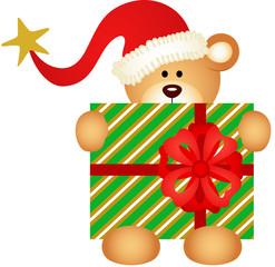 Christmas teddy bear with santa claus hat