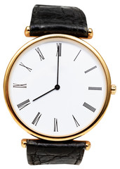 eight o'clock on dial of wristwatch isolated