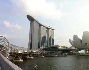marina bay sand looking from helix bridge, Singapoe