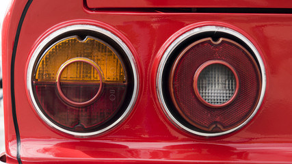 Closeup of the tail lights of a classic car