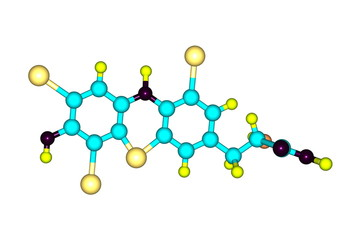 Thyroxine molecule isolated on white