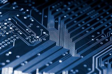 Macro of electronic circuit board in blue