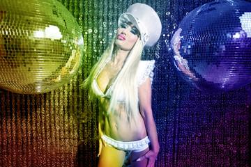 sexy female drag artist dancing