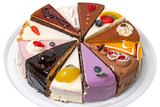 Twelve different pieces of cake on a plate