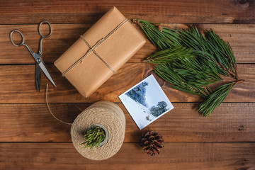 Rustic Christmas Gift on wooden background