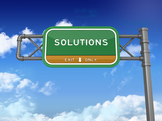 Highway Sign - Solutions - High Quality 3D Render