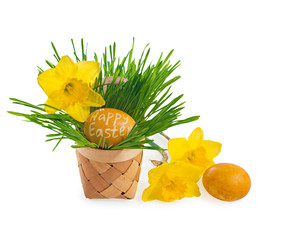 Basket filled with easter eggs on meadow with daffodil.