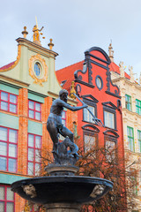 Naptune statue and fountain in Gdansk, Poland