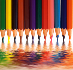 Colorful pencils with abstract reflection. Creative concepts.