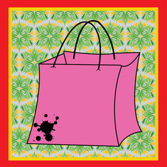 Shopping Bag With Rope Handles. Pink,Vector, Isolated