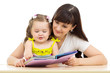 happy mother and child read a book together