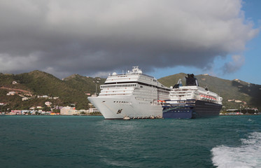Cruise liners in Road Harbor. Road-Town, Tortola