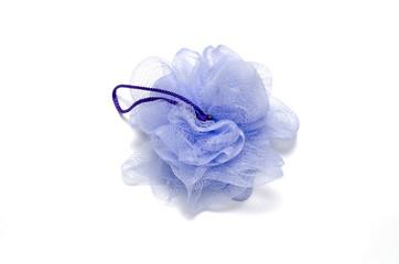 purple bath puff