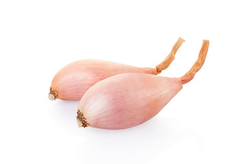 Shallot onions on white, clipping path