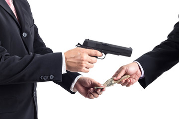 Robbery by businessman concept unethical or corruption