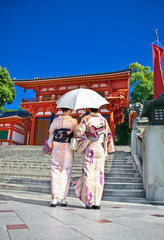 Japanese girls with Japanese traditional suit (Yukata) in Kyoto