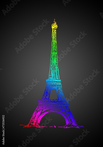 Paris art design illustration - 73536432