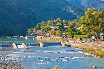 Katsura River  in Arashiyama, Kyoto, Japan