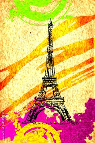 Paris art design illustration - 73536891