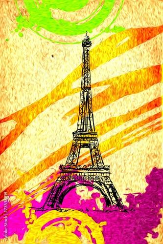 Paris art design illustration - 73536891