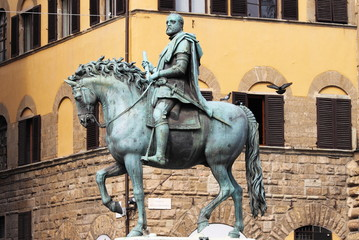 Equestrian statue of Cosimo I in Florence, Italy