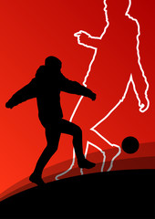 Soccer football players active young and healthy men sport silho