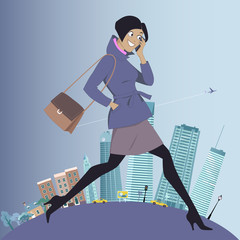 Woman going to work from suburbs to the city