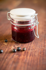 Forest berry jam in a jar