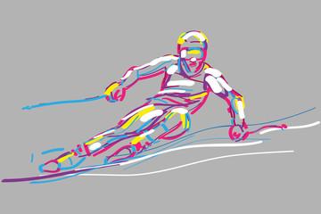 narciarz wektor