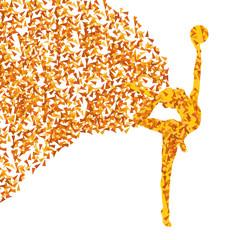 Art gymnastics with balls vector background concept