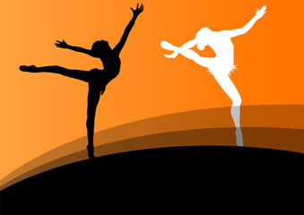 Active young girl gymnasts silhouettes in acrobatics abstract ba
