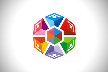3D geometry abstract modern building design logo