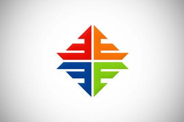 colorful business shape vector logo