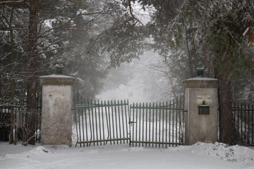 Old driveway gate in winter
