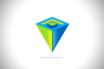 prism construction 3D abstract logo