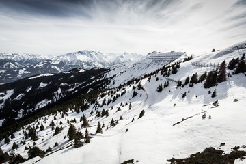 Beautiful view from Kitzsteinhorn ski resort in Alps