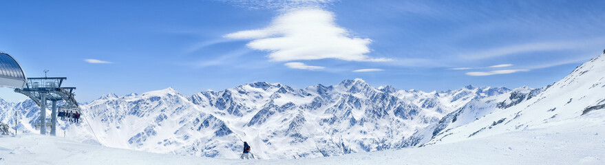 Alps mountains winter view.