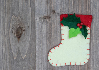 Christmas decorations and sock on wood background. Beautiful Chr