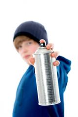 cool boy with aerosol can