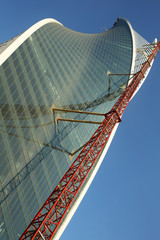 the construction of a skyscraper