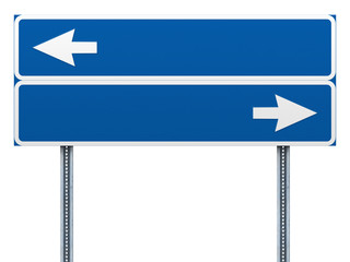 Blank blue road sign with arrows.