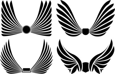 Set of four pairs of wings for you design or logo