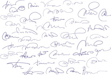 Collection of fictitious contract signatures. Autograph illustra