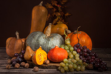 pumpkins, grapes and nuts