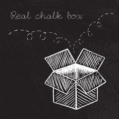 Box drawn in chalk vector