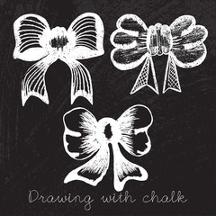 Set of bows drawn with chalk vector