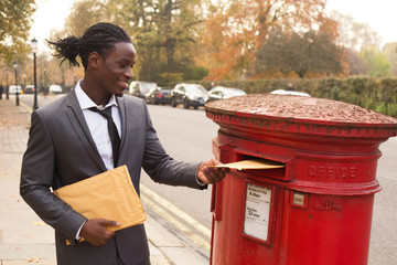 business man sending letters