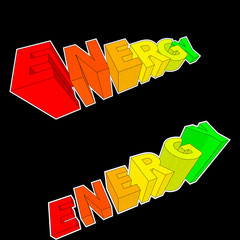 energy rating diagrams in form of rising letters