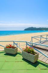 Beach bar terrace on Cala Sinzias beach, Sardinia island, Italy