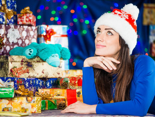 dreamy brunet portrait at christmas background